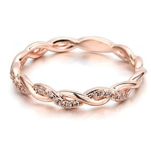 14K Solid Rose Gold Stack Twisted Ring Wedding